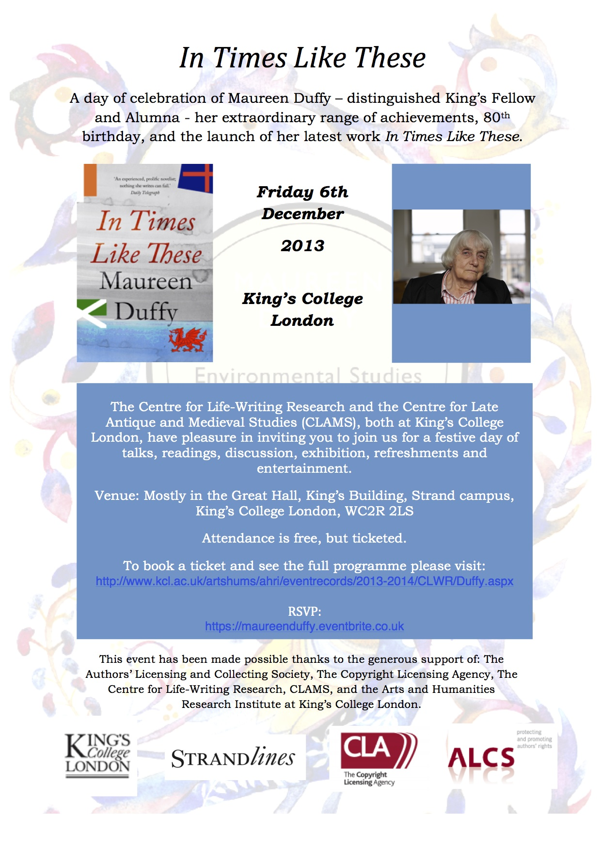 A Day to Celebrate Maureen Duffy at King's College London on 6th December 2013
